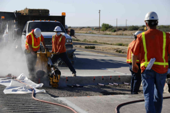 construction workers on road